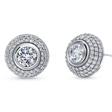 Diamond studs with pave jackets