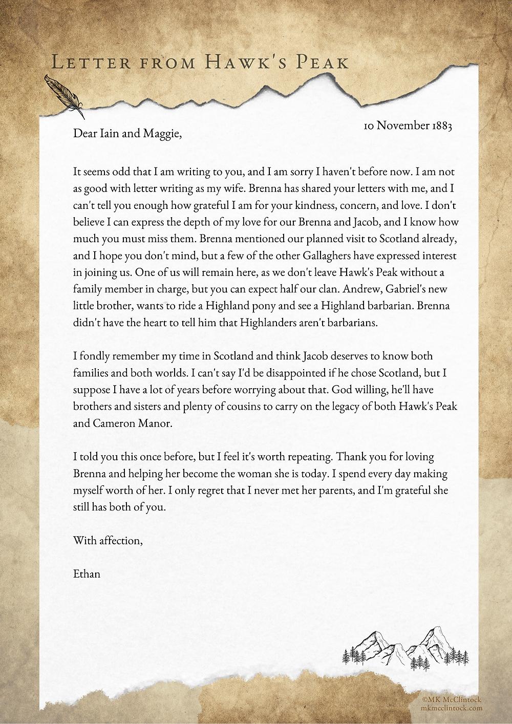 Letter From Hawk's Peak:  - November 10, 1883_MK McClintock_Montana Gallagher series