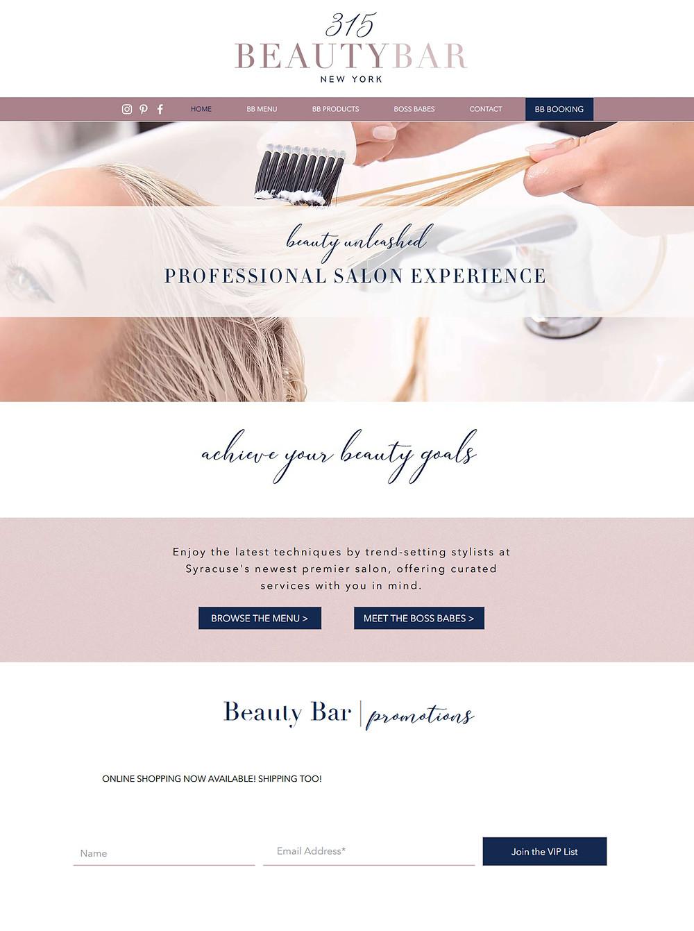 315 Beauty Bar Website