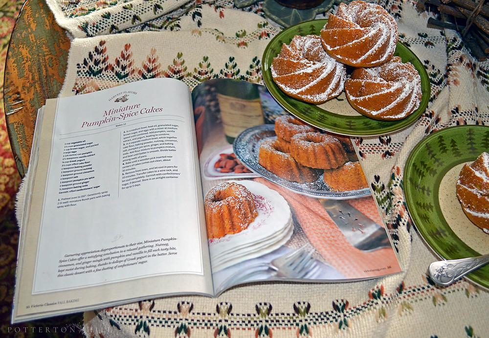 Pumpkin-Spice Mini Cakes and Autumn Flowers_PottertonHill.com