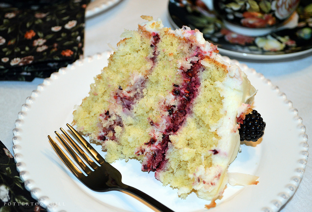 Blackberry Coconut Cake with Buttercream Frosting_©PottertonHill #cake #recipe
