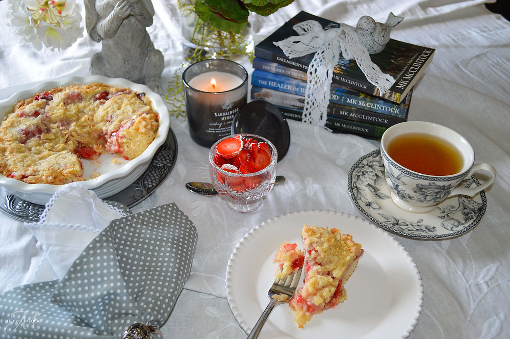 Relieve Stress with Tea and Books, Plus Strawberry Coffee Cake - MK McClintock