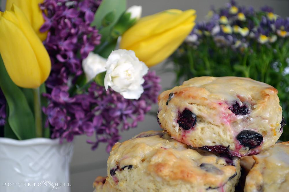Lemon Blueberry Scones at PottertonHill.com - #baking #scones #writerinthekitchen