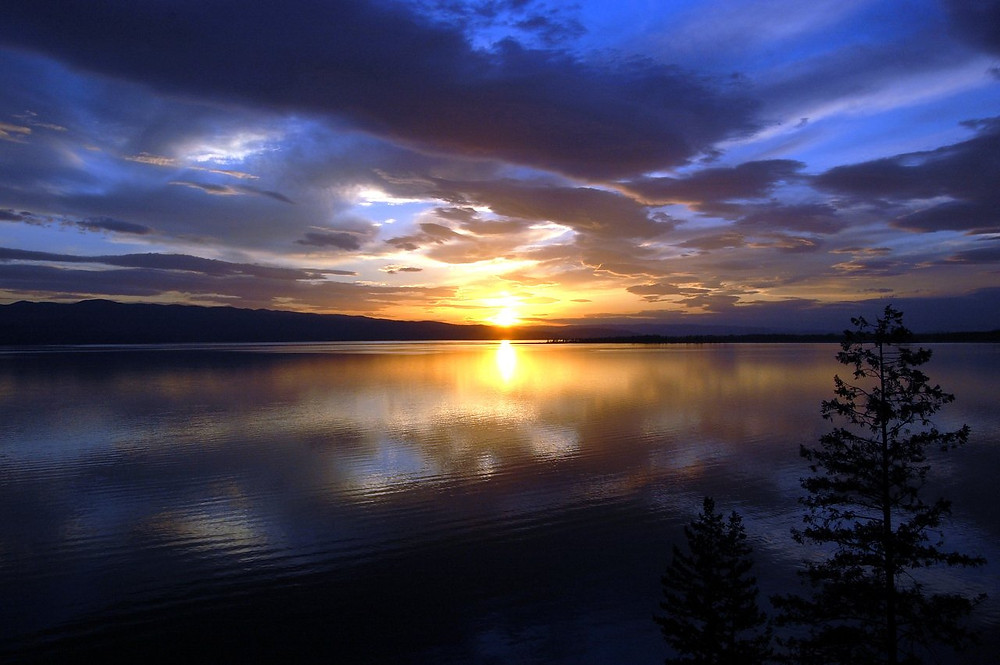 Sunset on Flathead Lake - author MK McClintock - #mountains #bliss