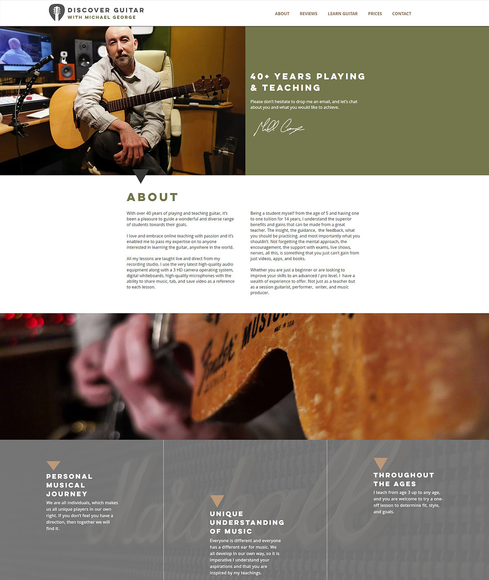 Discover Guitar with Michael George - website design by Potterton Creative