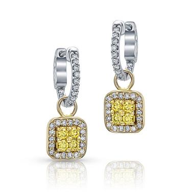 Diamond hoops with diamond drops