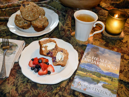 Book Break with The Healer of Briarwood - Whole-Wheat Blueberry-Sour Cream Muffins