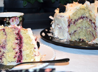 Blackberry Coconut Cake with Buttercream Frosting