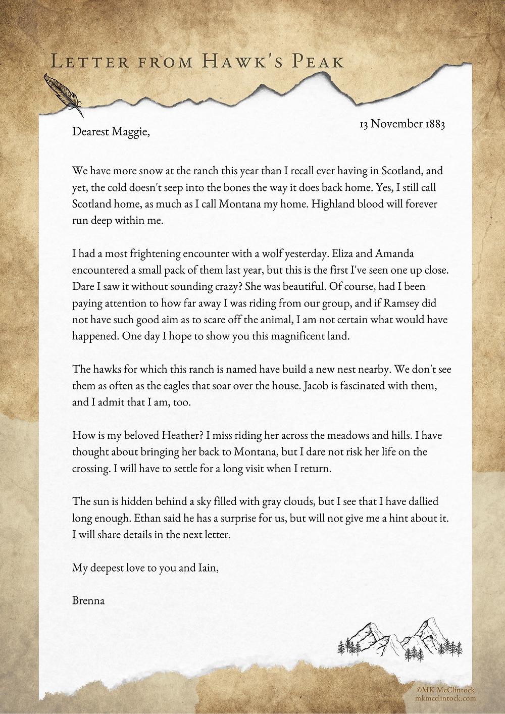 Letter From Hawk's Peak - November 13, 1883_MK McClintock_Montana Gallagher series
