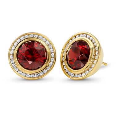 Garnet Button Earrings