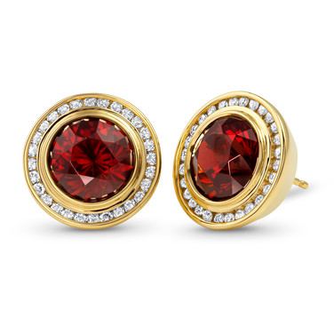 Garnet Button Earrings