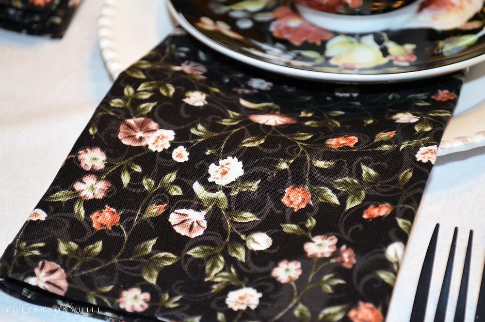 Cotton floral napkins by Potterton Hill