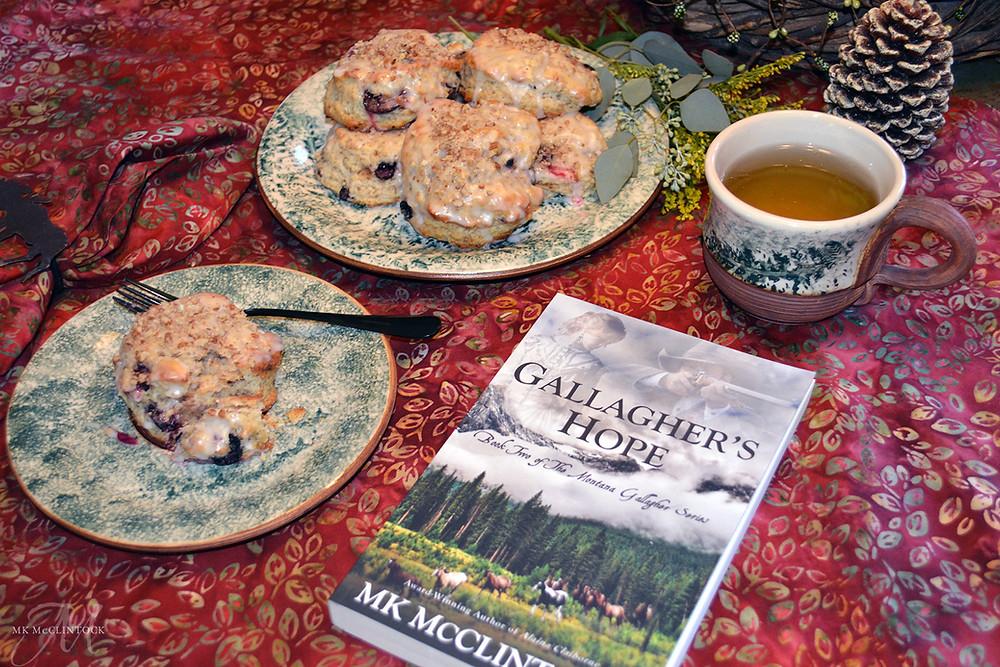 Tea Time with Gallagher's Hope - ©MK McClintock #teatime #bookandtea #historicalromance #westernromance