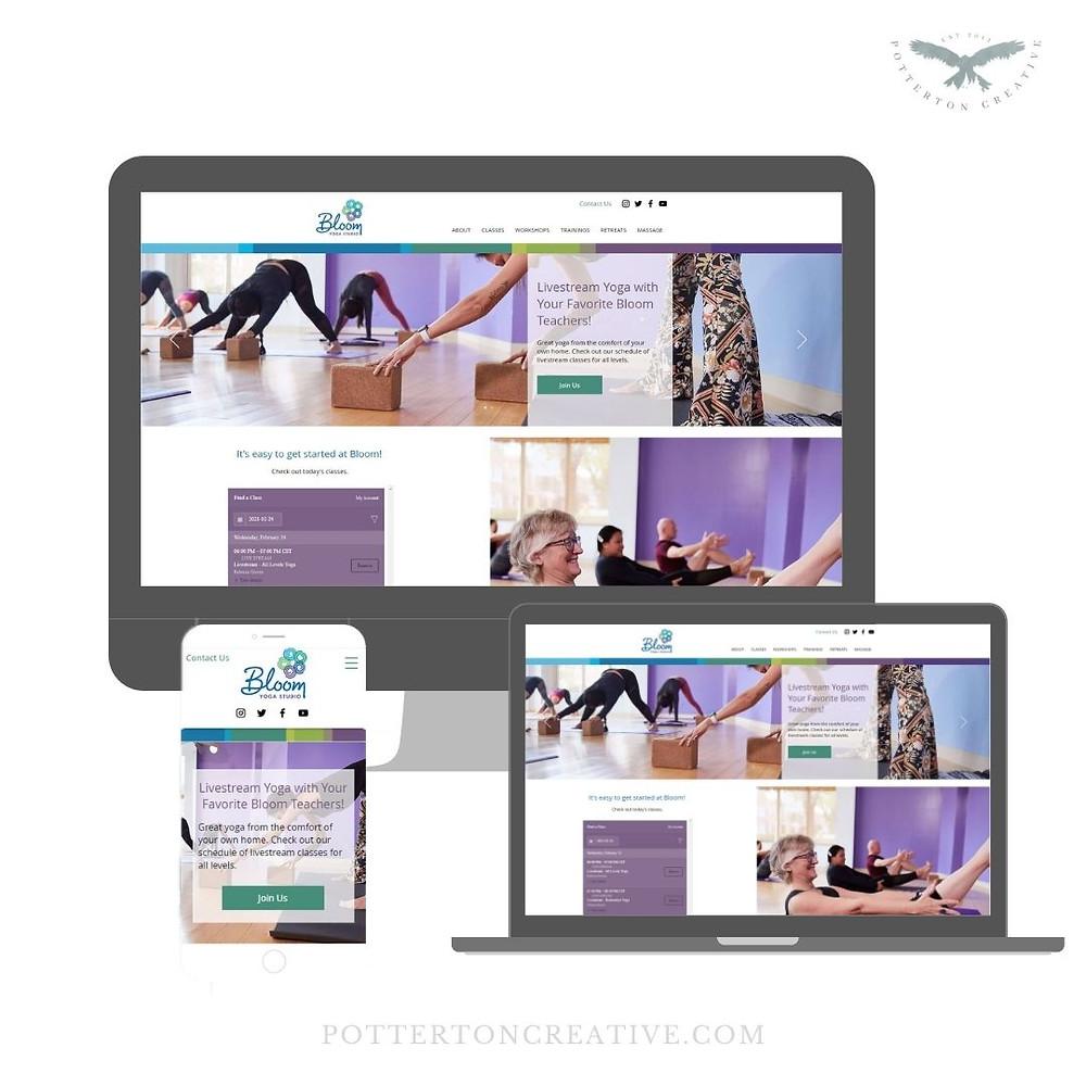 Bloom Yoga Studio - website design by Potterton Creative