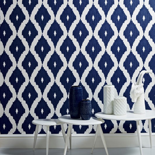 Kelly Hoppen Wallpaper -  Ikat White & Prussian Blue