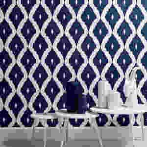 Kelly Hoppen Wallpaper -  Ikat White & Prussian Blue