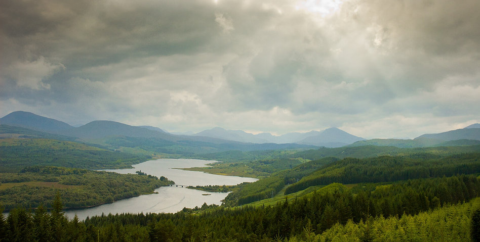 Aerial View Of Scotland Highlands With D