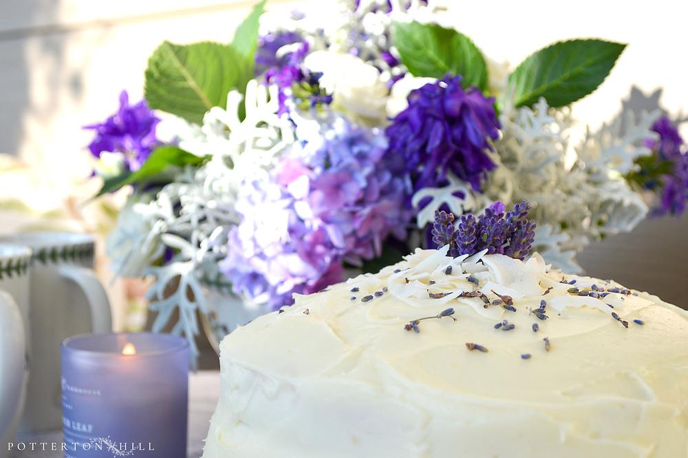 Lavender Lemon Coconut Layer Cake_©PottertonHill.com #recipe #baking #cake #afternoonteatea