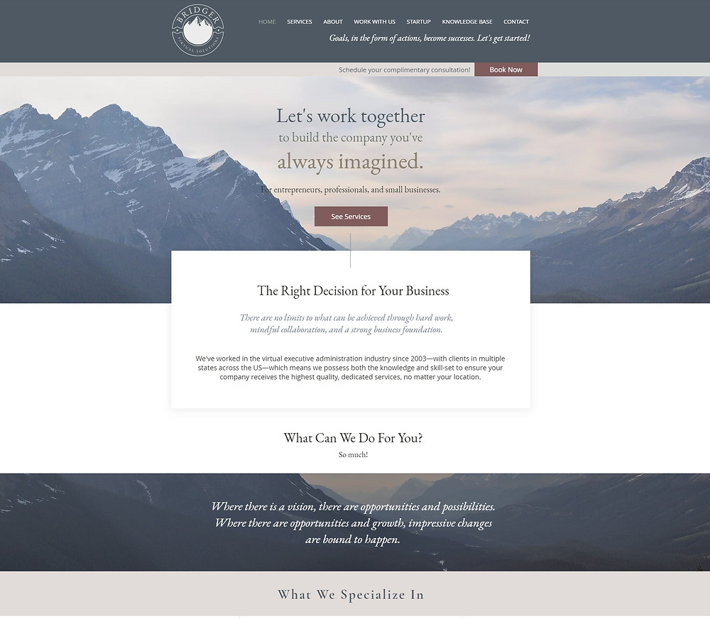 Bridger Virtual Solutions - website redesign by Potterton Creative