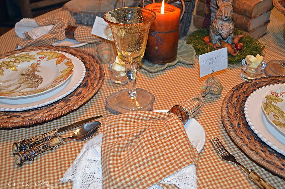 Autumn Table for Two with Woodland Dishes_PottertonHill.com