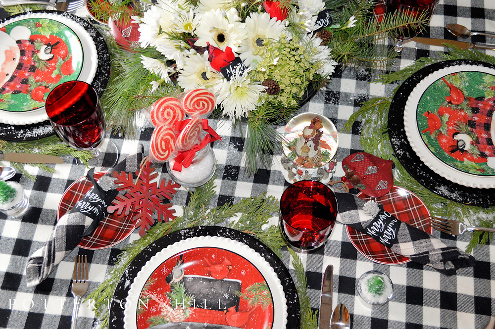 Cheery Santa and Snowman Christmas Table with Apple-Cranberry Scones_PottertonHill.com
