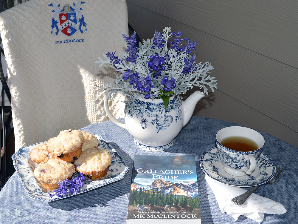Tea Time with Gallagher's Pride - ©MK McClintock #teatime #bookandtea #historicalromance #MontanaGallagherseries