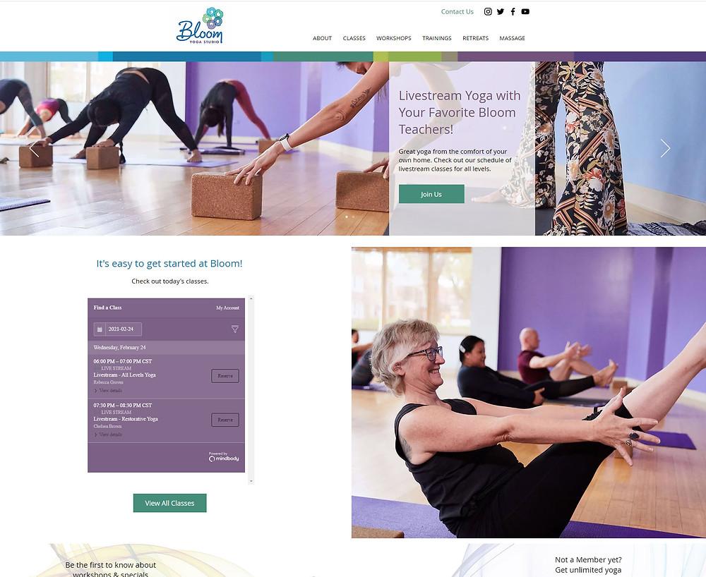 Bloom Yoga Studio - website redesign by Potterton Creative
