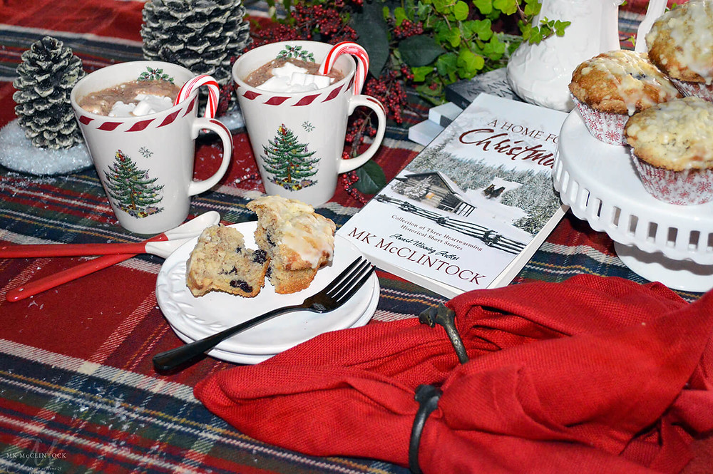 Book Break with A Home for Christmas - Cranberry-Orange Pecan Muffins - MK McClintock
