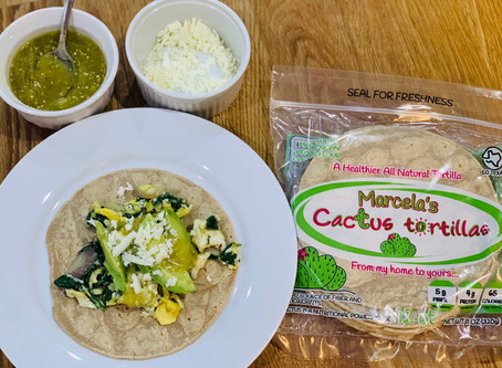 Recipe: Spinach and Egg Breakfast Tacos with Cactus Tortillas