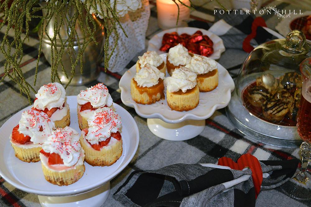 Mini Cheesecakes and Valentine's Dessert Table_PottertonHill.com