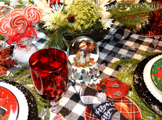 Cheery Santa and Snowman Christmas Table with Apple-Cranberry Scones