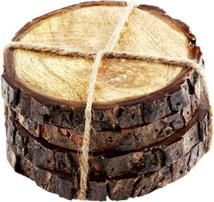 Thirstystone Urban Farm Round Mango Wood Bark Coasters (Set of 4), Brown