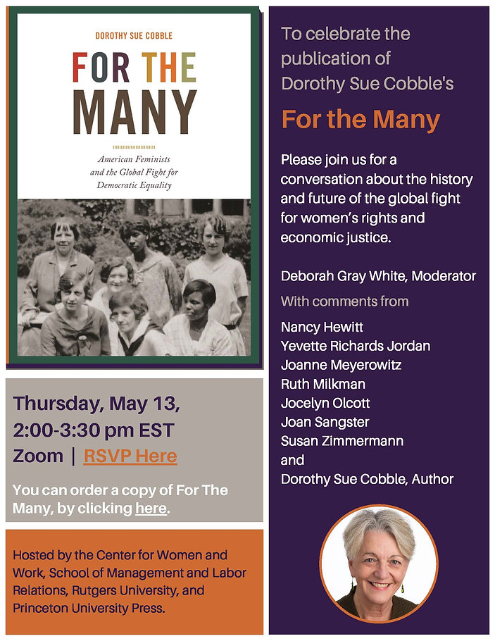 Book Launch Invitation for Dorothy Sue Cobble's FOR THE MANY