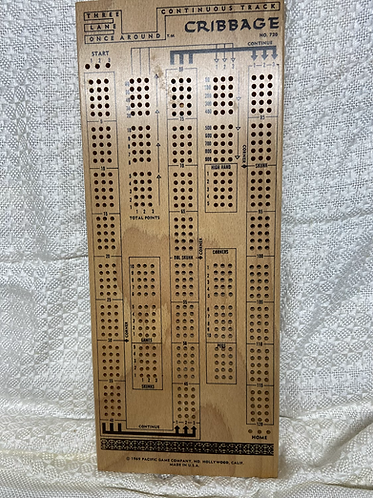 Pleasantime Once Arond 3 Lane Cribbage board 1958