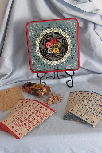 Vintage 1953 Board Game Bingo w/ metal spinner 1166 PRESSMAN TOY CORP. NY, USA