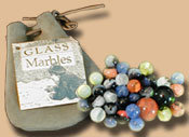 Glass Marbles in cotton bag