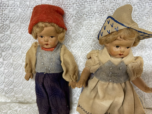 Late 1920's Dutch boy and girl composite dolls