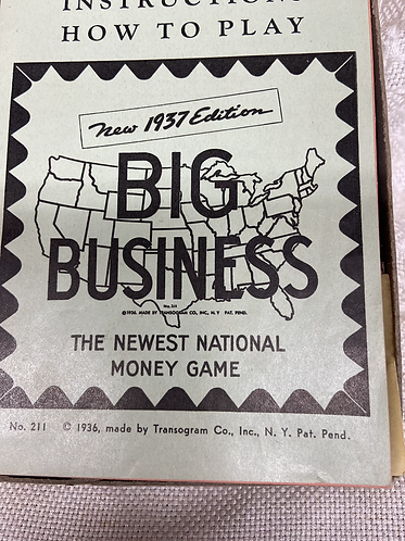 1937 edition Big Business (Transogram Co.)