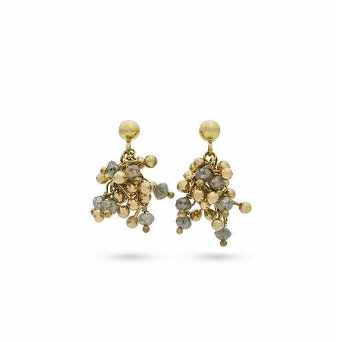 Gris diamant cluster boucles d'oreilles