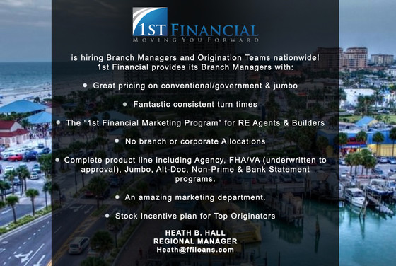 1st Financial is Always Recruiting Experienced Branch Managers With Talent.