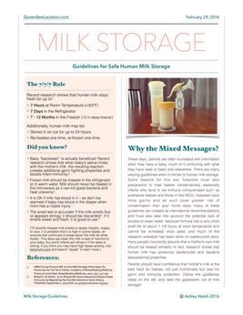 Milk Storage Guidelines