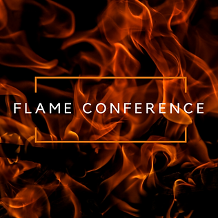 Flames in the background with Flame Conference logo in the foreground