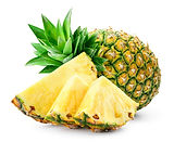 Whole pineapple and pineapple slice. Pin