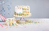 White buttercream confetti Birthday cake