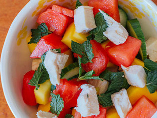 Cucumber, Watermelon, and Mango Salad with Mint