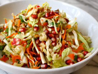 Pomegranate Salad with Walnuts and Cabbage
