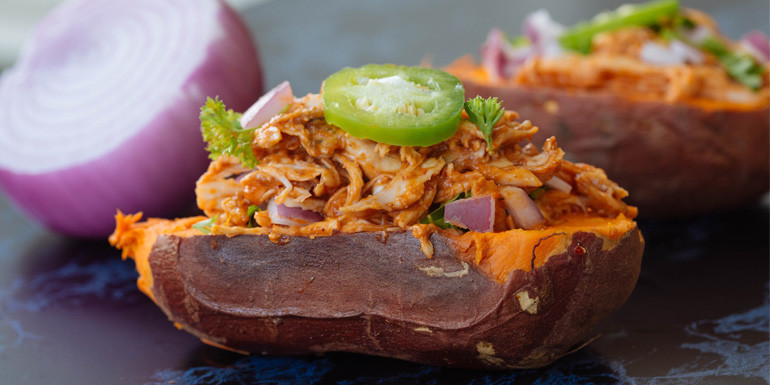 21 Day Fix recipe - BBQ Chicken Baked Sweet Potato