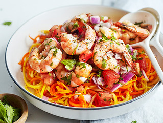Tomato Salsa Shrimp with Carrot and Squash Noodles