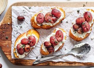 Roasted Grape and Goat Cheese Crostini