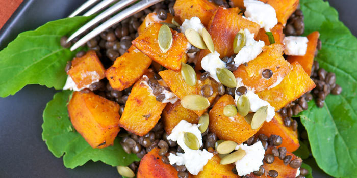 Roasted Pumpkin Salad with Lentils and Goat Cheese